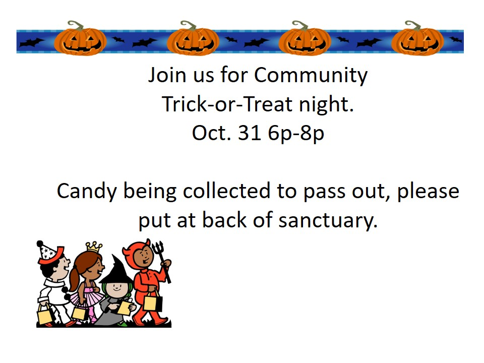 Join us for Trick or Treat in Sharon Center